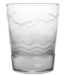 Seabreeze Double Old Fashioned Glasses - Set of 4  Look closely for the tiny fish swimming below the waves!