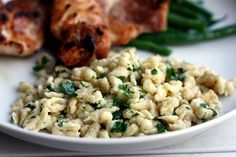 Spaetzle. Cook in boiling water, drain then saute in browned butter or bacon drippings, parm cheese and parsley. YUMMO