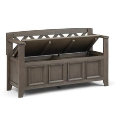 WYNDENHALL Halifax SOLID WOOD 48 inch Wide Transitional Entryway Storage Bench - 48 Inches wide - On Sale - Overstock - 7326885 Entryway Bench Storage, Bench With Storage, Storage Spaces, Bed Bench, Storage Compartments, Wood Colors, Solid Wood, Mudroom, Furniture