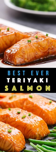 This Baked Teriyaki Salmon is an irresistible dinner that's healthy and flavorful… moist and flakey salmon coated with a homemade sticky and sweet teriyaki sauce. So good! #bakedSalmon #teriyakiSalmon