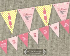 Yellow Check Kitchen Tea Bridal Tea Party Bunting by SladeStudios Party Bunting, Bunting Flags, Studio Cards, Craft Stalls, Yellow Wedding, Baby Shower Invitations, Thank You Cards, Tea Party, Bridal Shower