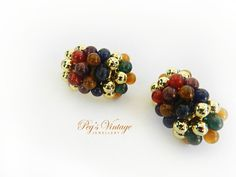 Vintage Multi Colored Beaded Clip On Gold by PegsVintageJewellery, $12.00