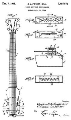 1948 - Pickup Unit For Fender Guitar - C. L. Fender - Patent Art Poster #patentartposters
