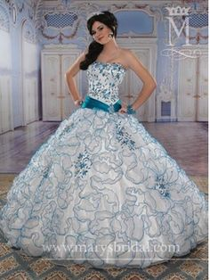 e933b58257 Blue Quinceanera Dresses - Blue And White Floral Dress