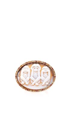 Hand Carved Cornelian Shell Cameo Ring Set In Rose-Plated Silver With White Diamonds by Amedeo for Preorder on Moda Operandi