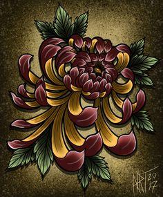 Chrysanthemum All Over Graphic Tee by Rouillet Tattoo - Medium Chrysanthemum Drawing, Japanese Chrysanthemum, Chrysanthemum Flower, Japanese Flowers, Japanese Drawings, Japanese Tattoo Art, Japanese Flower Tattoos, Sketch Tattoo Design, Tattoo Designs