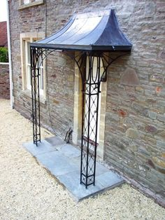 Decorative wrought iron porch