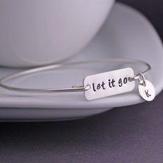 Let It Go Bracelet Personalized Inspirational Bangle Bracelet by georgiedesigns
