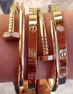 Nail gold belt bracelet love cartier