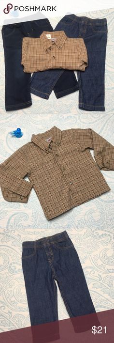 Set of 18mo jeans and 24mo plaid brown shirt Adorable!  Brown plaid shirt is City Supply brand. One pair of jeans is Carter's and is a nice thin soft material. The other is Cat and Jack and is a nice soft material as well. The Cat and Jack one is almost like new! Carter's Bottoms Jeans