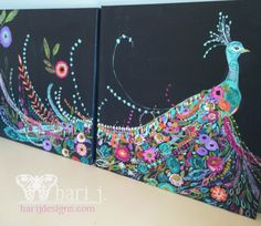 A Journal of Creative Inspiration from Bari J. Art, sewing, fabric design, home decor and family fun. Peacock Wall Art, Peacock Painting, Peacock Room, Doodle Designs, Fantasy Paintings, Collaborative Art, Mundo Animal, Bird Art, Painting Inspiration