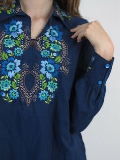 Vintage 1970s Top / 70s Boho Top /  Floral Embroidery Top. $32.00, via Etsy.