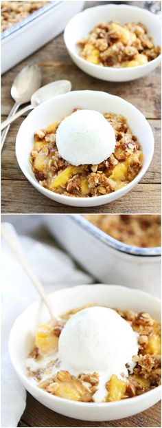 Peach Almond Crisp Recipe on twopeasandtheirpod.com This easy summer dessert is always a favorite!