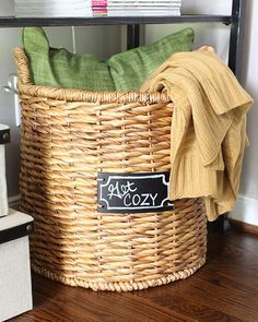 Use A Chalkboard Label Basket From Target To Store A Pillow And A Few Throw  Blankets For Guestrooms