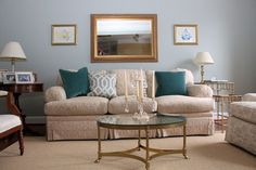 Cute living room vignette, with some fun pops of color - U-Fab Home Tour: Charlottesville Charm