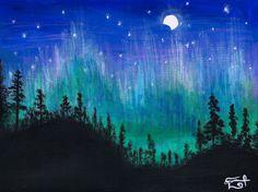 """BOREALIS"" by Daniel Reynoso (Ankhsethamon). Time Painting, Night Time, Northern Lights, Nature, Travel, Art, Paintings, Art Background, Naturaleza"