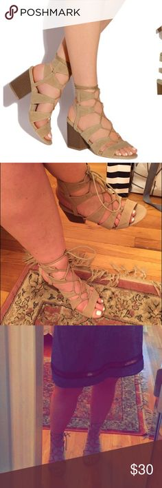 """Nude lace up gladiator style heeled sandal! Nude lace up gladiator style heeled sandal! Worn 1x!  Heel Height: Approx 3"""". When these came in they had the small mark on them as shown in second to last pic ! Lolashoetique Shoes Sandals"""