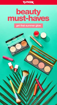 Get your shine on all summer long with these summer beauty must-haves. A neutral powder palette with a golden bronzer warms up any skin tone, while a bright pop of red lipstick or rose blush highlights your sun- kissed tan. Score more summer beauty essentials at tjmaxx.com and your local T.J.Maxx.