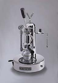Must have italian espresso machine - Elekra = built like a tank, designed to press the most amazing coffee in the world...