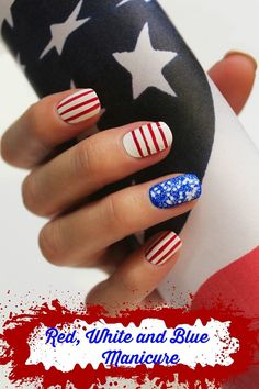 red white and blue Manicures red white and blue nail art  See all our holiday manicures: http://stillblondeafteralltheseyears.com/category/manicures/