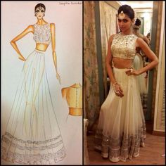Second look for Deepika Padukone at Star screen awards performance in our mirrorwork crop choli and lahenga:) by Arpita Mehta