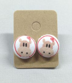 5/8 Size 24 Red/Khaki Hippo Fabric Covered Button by RatDogInk