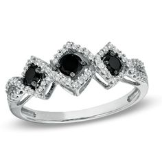 Black Mystique 1/2 CT. T.W. Enhanced Black and White Diamond Three Stone Ring in 10K White Gold - Zales