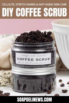 Body Scrub Recipe, Sugar Scrub Recipe, Diy Body Scrub, Diy Scrub, Diy Coffee Face Scrub, Exfoliating Body Scrub Diy, Coffee Cellulite Scrub, Coconut Oil Sugar Scrub, Coconut Body Scrubs