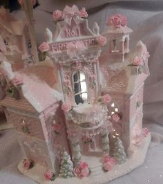 Shabby Pink Victorian Christmas Village Fire Station House Chic Roses Glitter | eBay