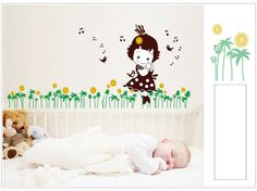 kids bedroom | MJ7016 Cartoon Girl Music Children DIY Removable Wall Stickers Parlor Kids Bedroom Home House Decoration
