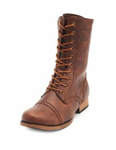 Distressed Lace-Up Combat Bootie $40