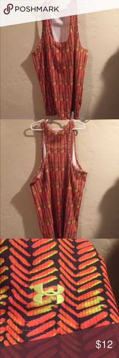 UNDER ARMOUR WORKOUT TANK Super fun and bright patterned Under Armour fitted workout tank top. EUC size XL but fits like a large. I accept reasonable offers. Under Armour Tops Tank Tops