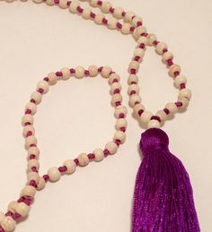 Fair Trade Balinese Mala Necklace-White Stone with Purple Tassel-G024 by JennPetersShop on Etsy