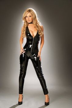 Deep V Vinyl PVC Catsuit with Zipper Front by Elegant Moments intimate apparel