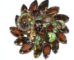 Juliana Amber Rhinestone Brooch and Earring Set (39.00 USD) by koolcatcollectibles