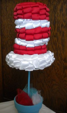 Dr. Seuss Cat in the Hat Ribbon Topiary for birthday party, baby shower, bridal shower, new baby girl.