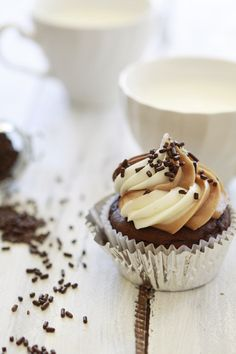 Chocolate Cupcakes with Nutella, Almond Butter, and Vanilla Cream Cheese Frosting.
