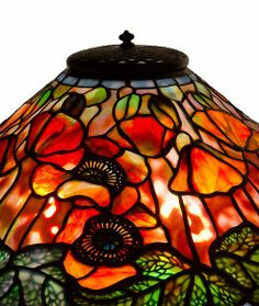 "Tiffany Studios, New York, Favrile Leaded Glass and Patinated Bronze ""Poppy"" Lamp."