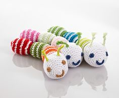 Crochet caterpillar rattles from Pebble