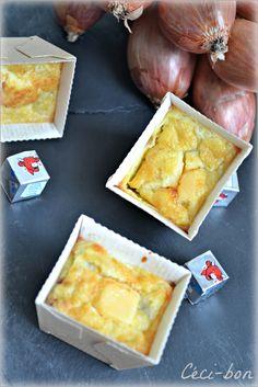 Mini-clafoutis apéricubes et échalotes Prince de Bretagne #recette #clafoutis #vachequirit #facile