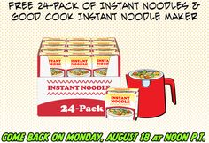 FACEBOOK FREEBIE $$ Enter to Win a FREE 24-Pack of Instant Noodles & Good Cook Instant Noodle Maker – TODAY (8/18) at Noon PT!