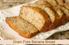 Grain Free Banana Bread Recipe Breads with coconut flour, coconut oil, medjool date, baking soda, salt, nutmeg, cinnamon, vanilla extract, large eggs, bananas, nuts