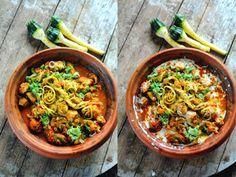 Curry parfumé au poulet et aux spaghettis de légumes