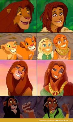 The Lion King as humans, another form of them as humans is seen on broadway. I prefer them as Lions. Disney Pixar, Heros Disney, Disney And Dreamworks, Disney Animation, Disney Art, Disney And More, Disney Love, Disney Magic, The Lion King Characters