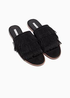 & Other Stories image 2 of Fringe Slip-On Sandals in Black