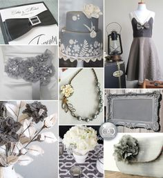 Wedding Inspiration Board : Vintage Grey andIvory - Brenda's Wedding Blog - unique daily wedding blogs from Best Wedding Sites for brides & grooms  and throw some yellow in there too!