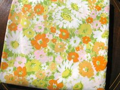 vintage King flat bed sheet  / Texmade/  1970s orange green yellow / craft or quilting fabric.. $22.00, via Etsy.