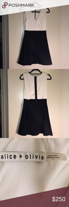 Alice + Olivia Black/White Dress Never worn because it wasn't the right size. Fun cutout on the back! Alice + Olivia Dresses