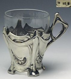German teacup from silver. Art Nouveau Interior, Art Nouveau Design, Streamline Art, Pop Art, Jugendstil Design, Glass Holders, Arte Floral, Glass Ceramic, Art Furniture