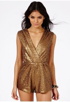 Kandis Sequin Crossover Playsuit - Jumpsuits & Playsuits - Clothing - Missguided